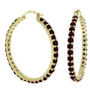 14k. Solid Gold Hoop Earrings with Natural Garnets Jewelry