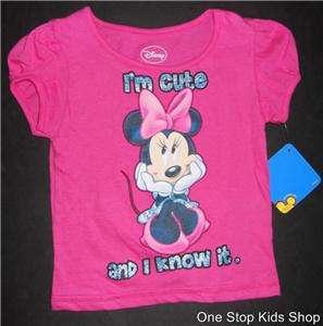 MOUSE Girls 24 Months 2T 3T 4T Short Sleeve SHIRT Top DISNEY