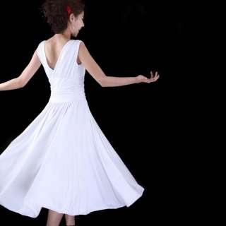 NEW long Party Evening Dress Pure White V Neck Latin Waltz Ballroom