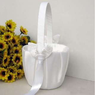 Elegant White Satin Calla lily Wedding Flower Girl Basket Favor