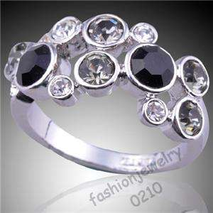 Womens Girls Black &Clear Crystals Ring Fashion jewelry KSR042