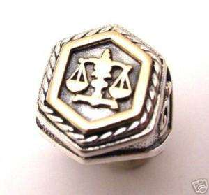 Mens Sterling Silver 925 Signet Ring Gold 9K Libra