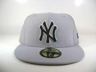 NEW ERA 59FIFTY NEW YORK YANKEES GREY/BLACK various szs