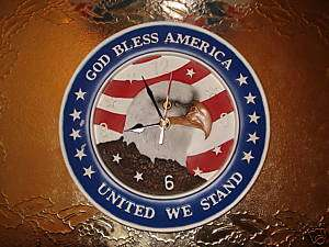 GOD BLESS AMERICA/ FLAG/ EAGLE HAND PAINTED CLOCK/NEW