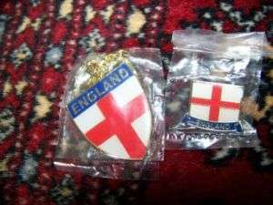 Key FOB & Lapel Pin St George Cross England Flag NEW
