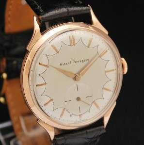 GIRARD PERREGAUX 18K SOLID ROSE GOLD FANCY DIAL VINTAGE 1950s DRESS