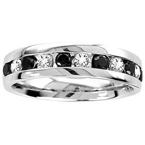 Carat Black & White Diamond 14k White Gold Mens Wedding Ring