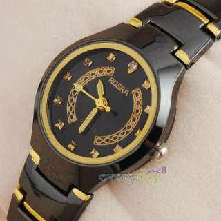 Black Golden Stainless Steel Lady Vintage Style Womens Quartz Watch