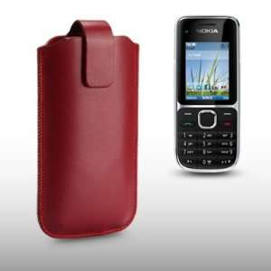 NOKIA C2 01 RED PU LEATHER CASE / COVER / POCKET / POUCH