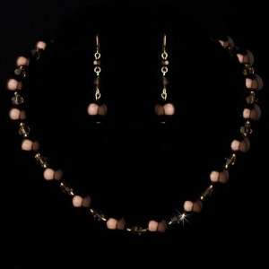 Gold Brown Necklace Earring Set Jewelry
