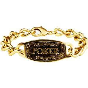 Poker Champion Link Bracelet with Gold Tone Plating