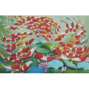 inch Oil Painting 99 Fortune Goldfishes in Lotus Pond