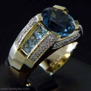 Natural Topaz Diamonds 14K Solid Gold Mens Ring r10200