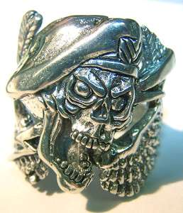 GREEN BERET SOLDIER SKULL WINGS BIKER RING BR148 silver BRAND NEW