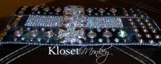 MALTESE CROSS RHINESTONE TENNIS BRACELET LEATHER CUFF