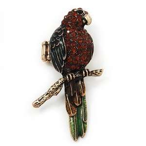 Exotic Amber/Green Crystal Parrot Flex Ring In Burn Gold