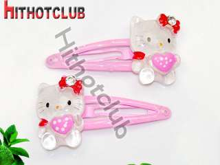 Cute 2X Sanrio Hello Kitty Hairpin Heart Pink Hair Accessory Barrette