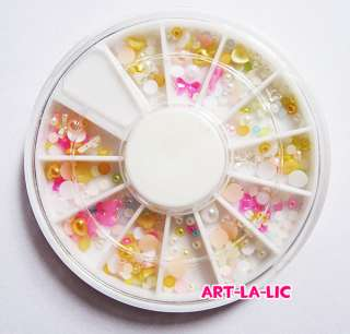 Half baby pearl wheel Mixed size & color for Nail Art