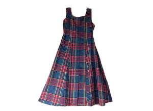 Blue Multicolored Plaid A line Long Rayon/Cotton Dress