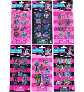 Monster High Liquid Sticker Set Of 6 Packs *New*