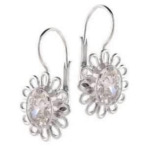 Sterling Silver Oval Prong Set Cubic Zirconia Flower