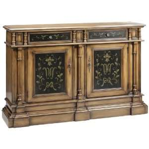 Brown and Black Hand Painted Finish Credenza