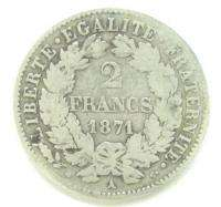ANTIQUE FRENCH FRANCE 2 FRANCS COIN FROM 1871 YEAR x