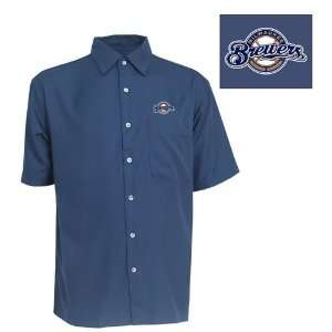 Milwaukee Brewers Premiere Shirt by Antigua   Navy Large