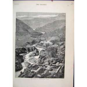 1884 Scene Baths Cauquedes Chili Mountains River Print