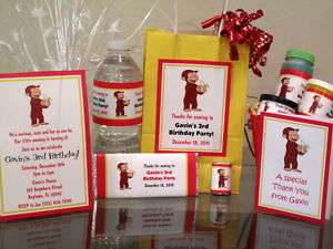 Curious George Birthday Party PDF CD w/ Invitation Favor Water Candy