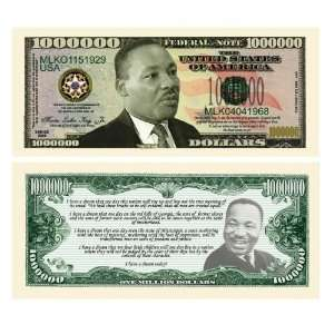 SET OF 100 MARTIN LUTHER KING JR MILLION DOLLAR BILLS Toys & Games