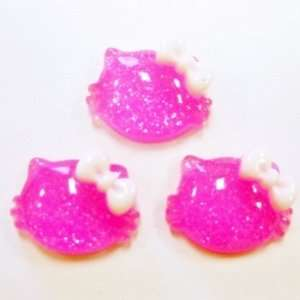 20pc Hot Pink Glitter Cat Flat Back Resins Cabochons fa118