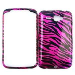 HTC CHACHA / HTC Status Transparent Design, Hot Pink Zebra