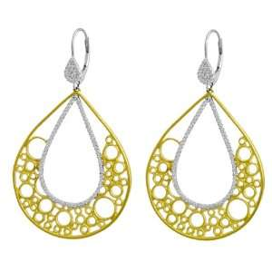 Meira T 14K Two Tone Diamond Pear Shaped Euro Wire Dangle Earrings