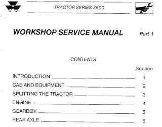 MASSEY FERGUSON TRACTORS SHOP SERVICE MANUAL 3635 3645 3655 3660 3670