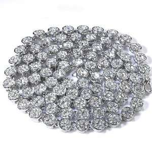 Rhodium Plated Flower Cluster Iced Out Hip Hop Chain Necklace Jewelry