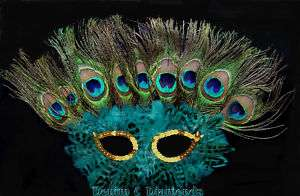 Mardi Gras Masquerde Costume Mask Peacock Eye Feather