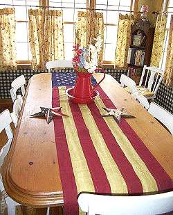 tea stained cotton US flag panel~90 table runner~
