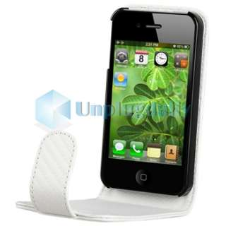 White Carbon Fiber Leather CASE+Car Charger+PRIVACY FILTER for iPhone