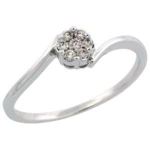 14k White Gold Small Cluster Diamond Ring, w/ 0.11 Carat Brilliant Cut