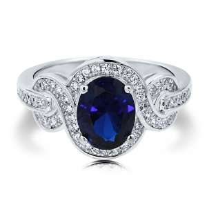 Oval Sapphire Cubic Zirconia CZ Sterling Silver Fancy Cocktail Ring