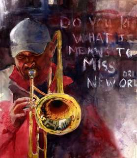 PRINT New Orleans Jazz Blues Black Man Painting Art