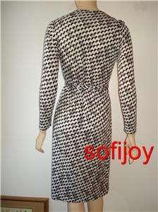 von Furstenberg sz 12 GIZELA wrap dress silk jersey white/black/gray