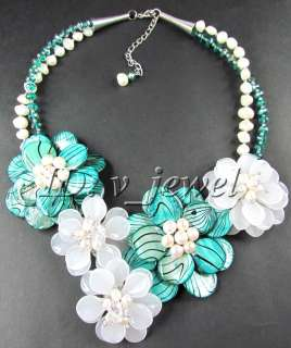 Zebra shell jade pearl flower necklace/earring set VJ
