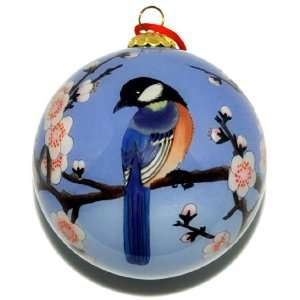 Glass Ornament, Blue Birds with Pink Cherry Blossoms CO 181 Home