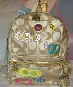 COACH POPPY POP C APPLIQUE Lt Khaki BACK PACK BOOK Bag LG Backpack