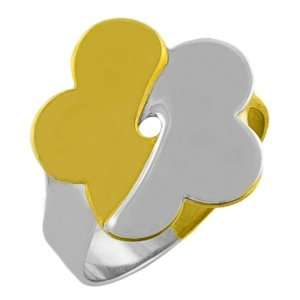 14 Karat Two tone Gold Bypass Flower Ring (Size 7