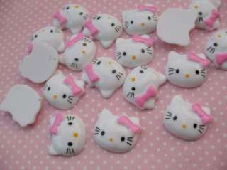 20 Cute white Resin Hello Kitty Buttons W/Pink Bow S