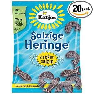 Katjes Salzige Heringe (Salty Licorice Fish), 7 Ounce Bags (Pack of 20