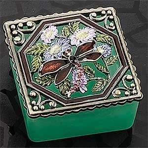 Burgundy Dragonfly with Color Glass Base Jewelry Box